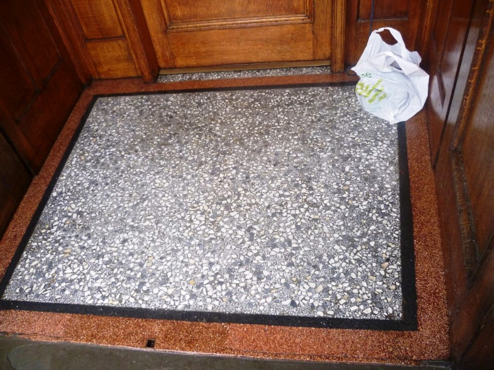 Terrazzo tiled vestibule in Glasgow after cleaning