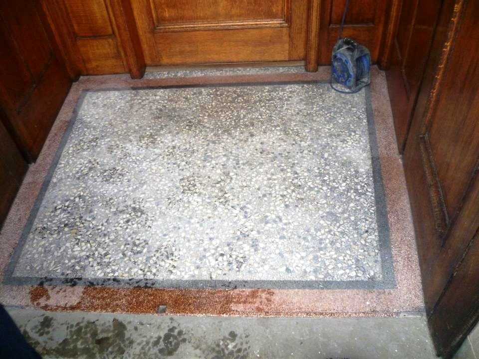 Terrazzo tiled vestibule in Glasgow before cleaning