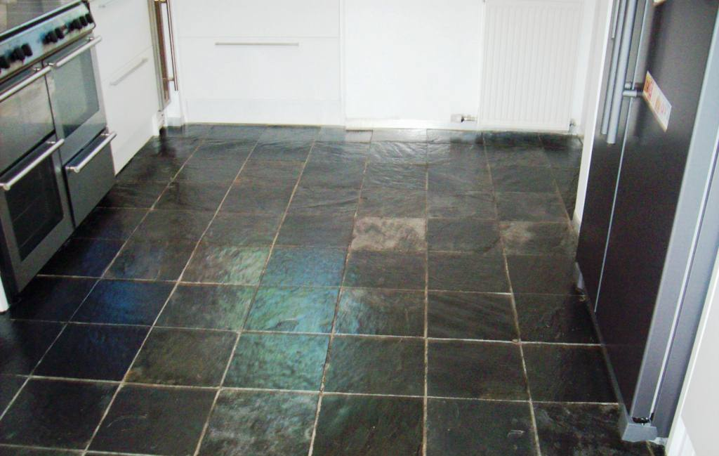 Slate Kitchen Floor Tiles Glasgow after cleaning