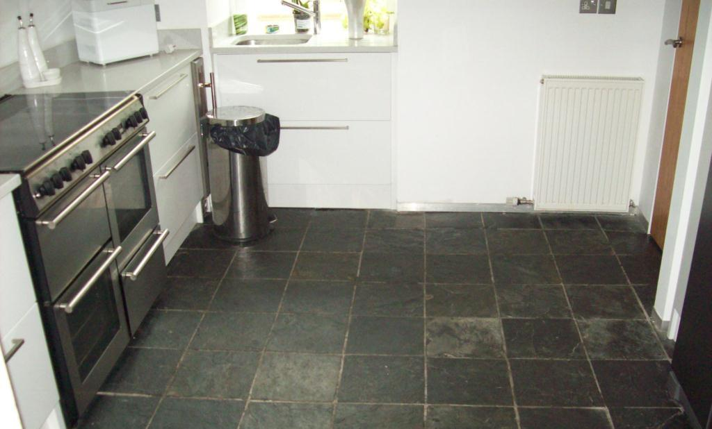 slate tile kitchen slate tiled floor cleaned and re sealed in glasgow 2309