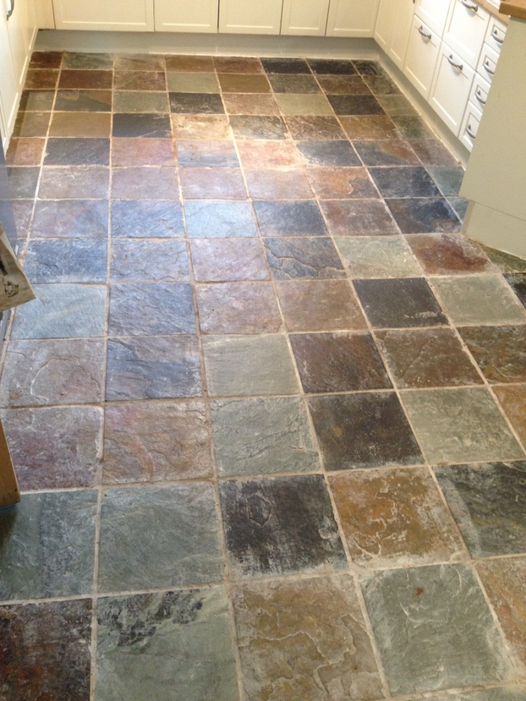 Slate Tiles in Glasgow Kitchen Before Cleaning