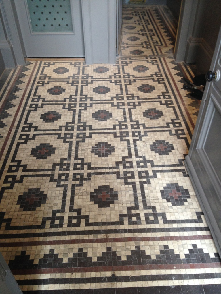 Victorian Mosaic tiles glasgow before cleaning