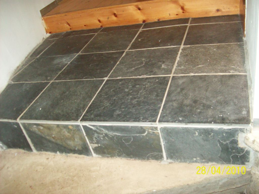 Slate tiled stairs in Glasgow before