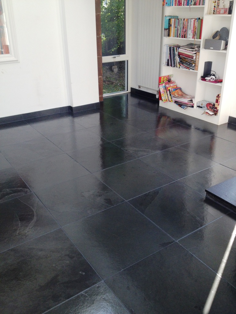 Dark slate tiled floor glasgow after cleaning