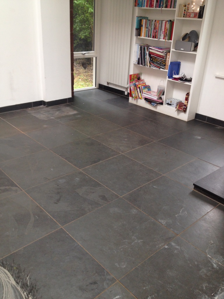 Dark slate tiled floor glasgow before cleaning