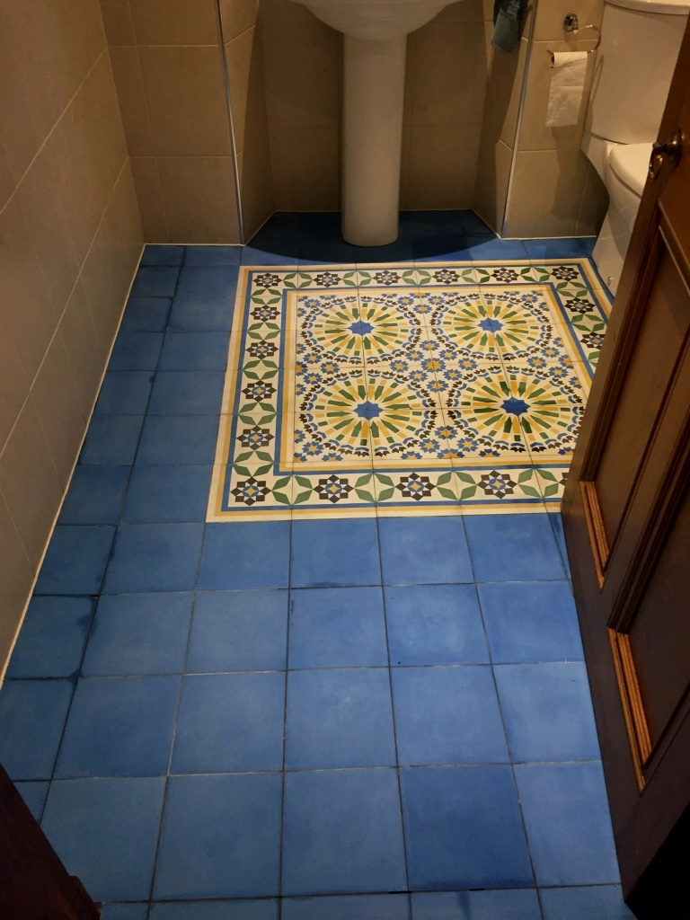 Moroccan Encaustic Cement Tiles Barrhead Before Cleaning