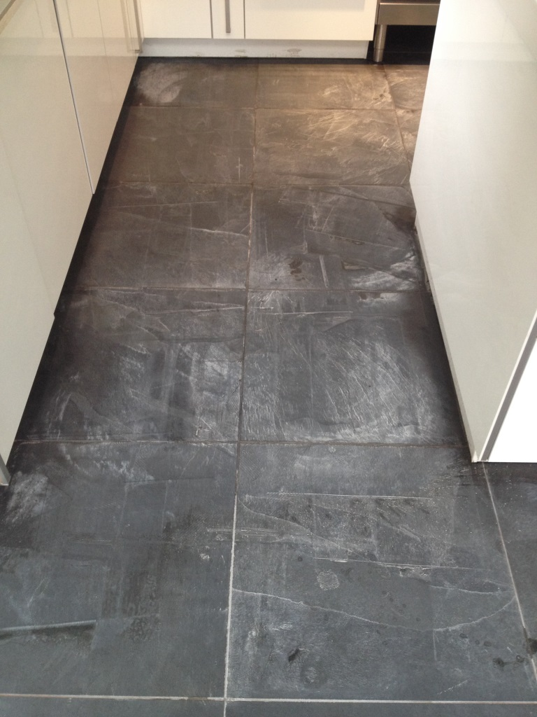 Slate tiled floor Huston before cleaning