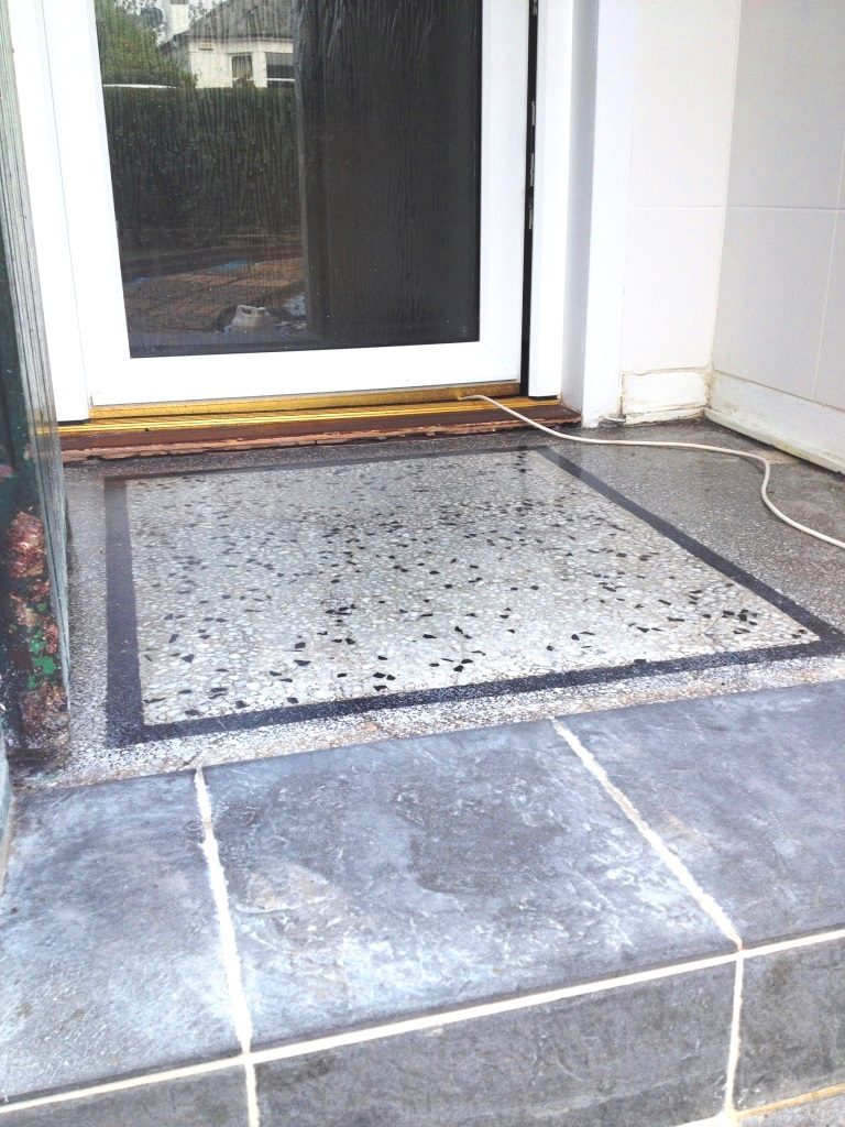 Terrazzo vestibule After cleaning and sealing in Glasgow