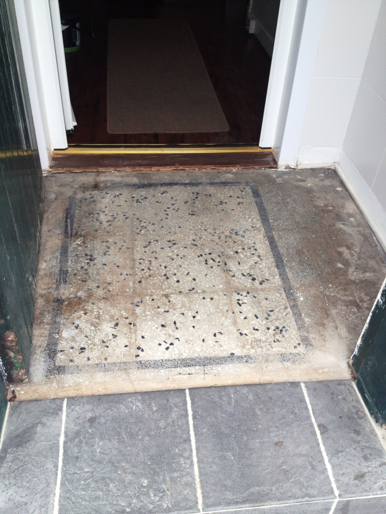 Terrazzo vestibule before cleaning in Glasgow