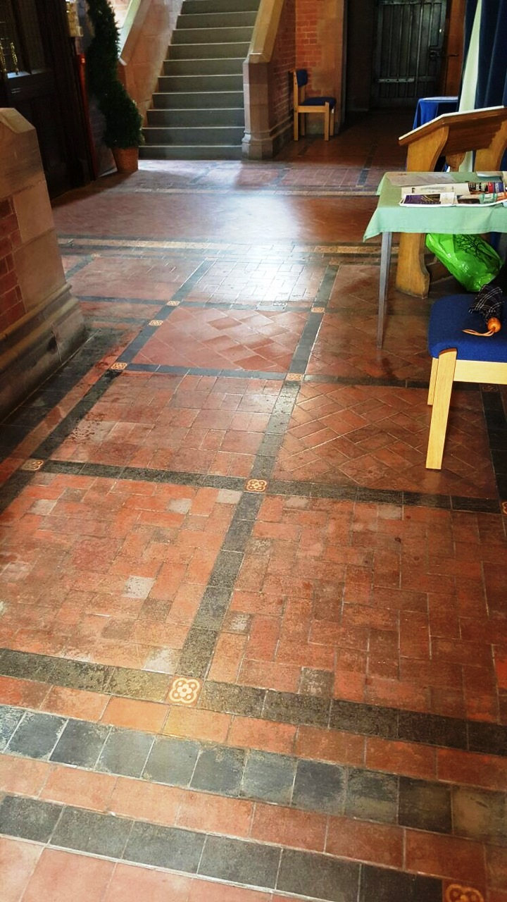 Lyle Kirk Church Quarry Tiles Before Cleaning Greenock
