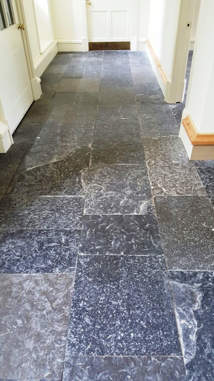 Natural Rough Slate Tiled Floor Touch Estate Before Cleaning