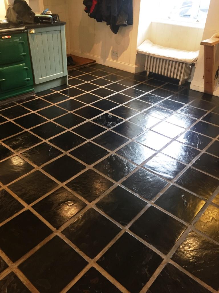 Slate Floor After Cleaning and Sealing in Lochwinnoch
