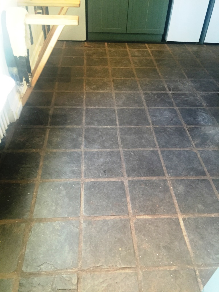 Slate Floor Before Cleaning in Lochwinnoch
