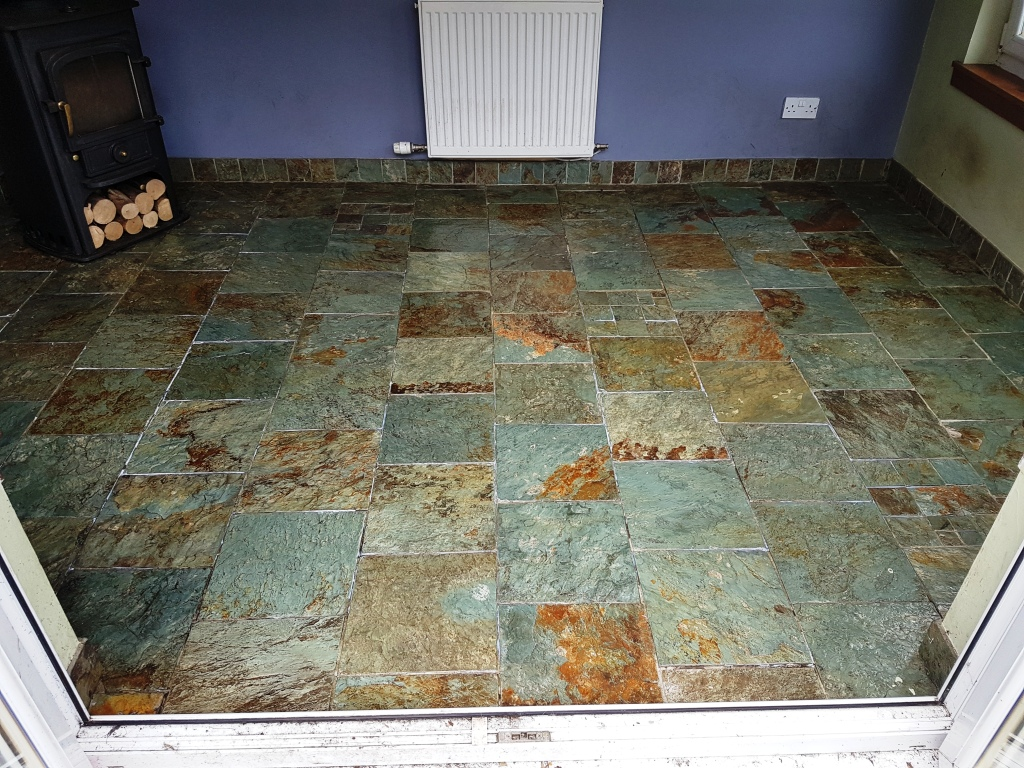 Slate kitchen floor after cleaning Gateside