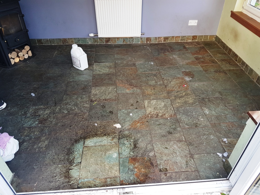 Slate floor before cleaning Gateside