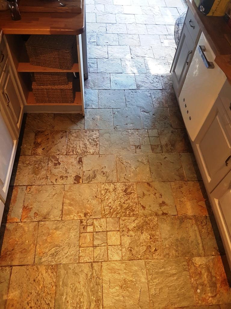 Slate kitchen floor after cleaning Gateside