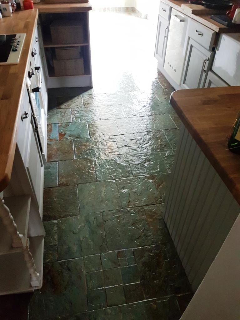 Slate kitchen floor after cleaning sealing Gateside