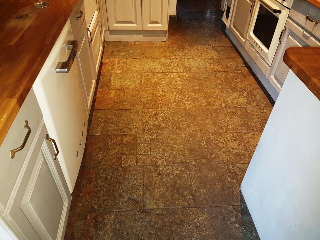 Slate kitchen floor before cleaning Gateside