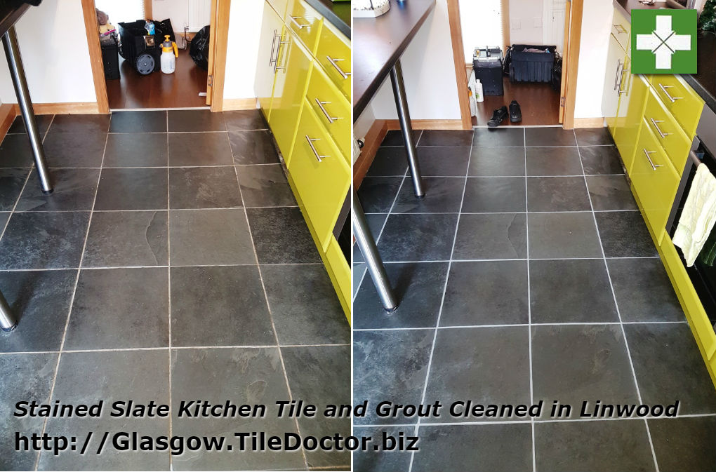 Slate tiled kitchen floor before and after cleaning in Linwood