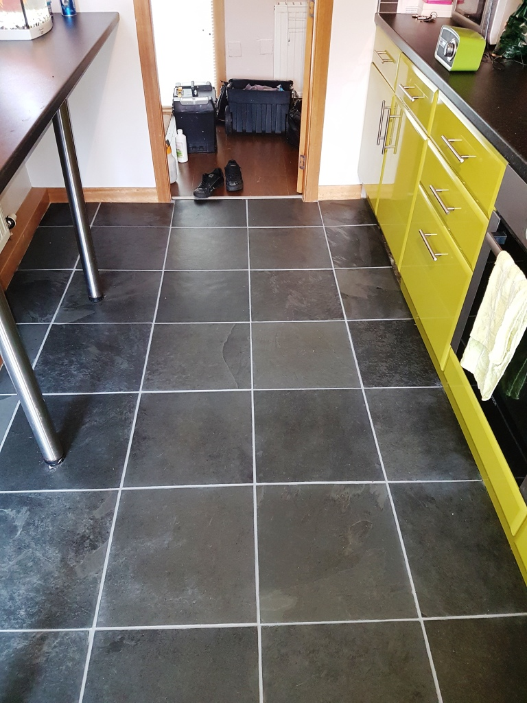 Slate floor tiles after grout colouring in Linwood
