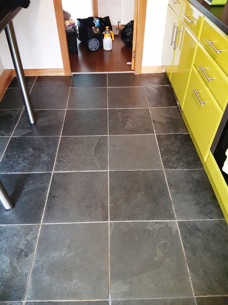 Slate Floor Tiles Before Grout Colouring In Linwood