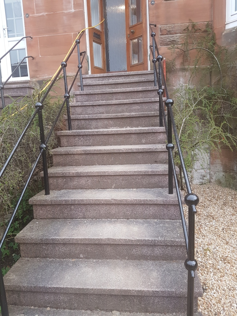 Terrazzo Steps Before Cleaning and Sealing in Glasgow