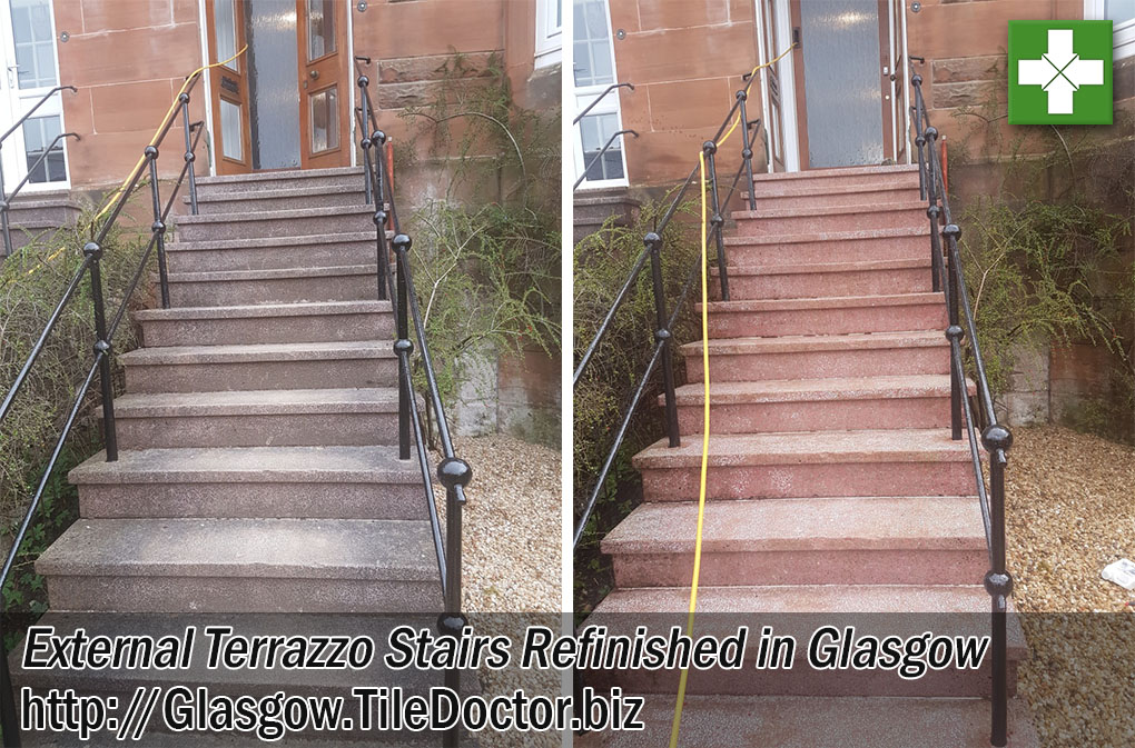 Terrazzo Tiled Steps Before and After Restoration in Glasgow