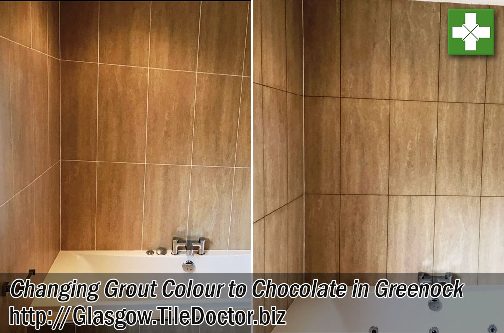 Ceramic Tiled Bathroom Before and After Grout Colouring to Chocolate in Greenock