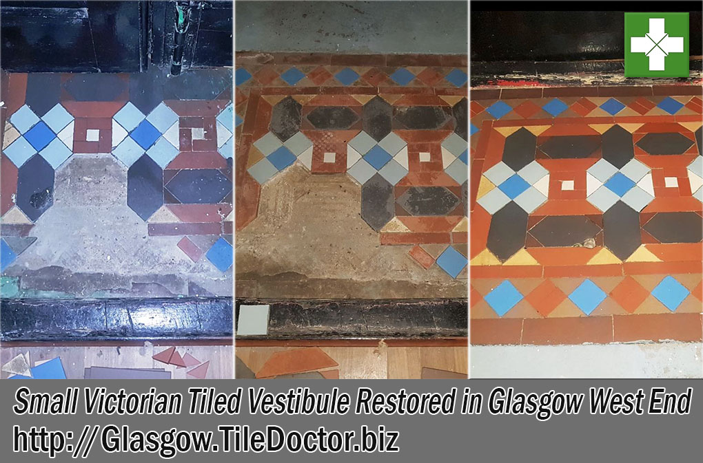 Small Victorian Tiled Vestibule Before and After Renovation Glasgow West End