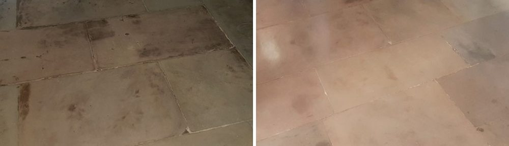 Stained Flagstone Floor Resurfaced and Sealed in Glasgow West End