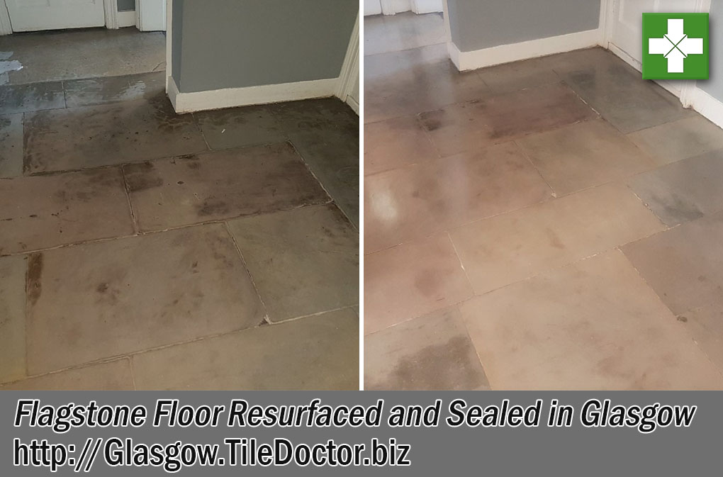 Flagstone Floor Before After Restoration Glasgow