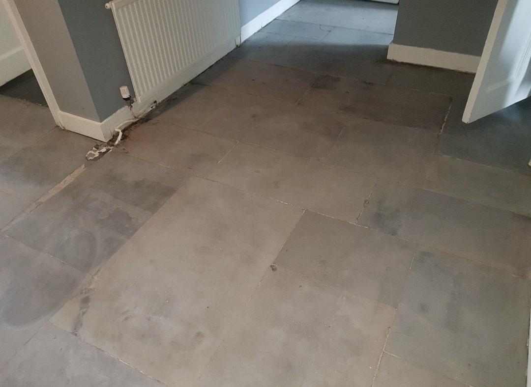 Flagstone Floor Glasgow West End Before Restoration
