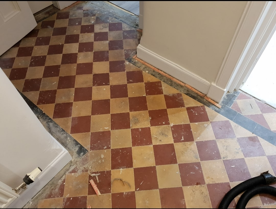 Victorian Hallway Floor Before Cleaning Glasgow West End