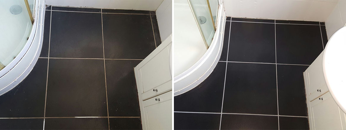 Bathroom Floor Paisley Before and After Grout Colouring
