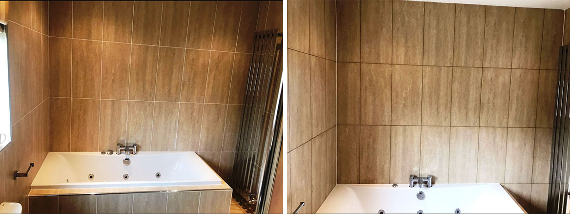 Changing Grout Colour in Greenock Bathroom Before and After