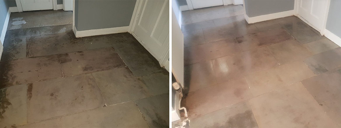 Flagstone Floor Glasgow West End Before and After Restoration