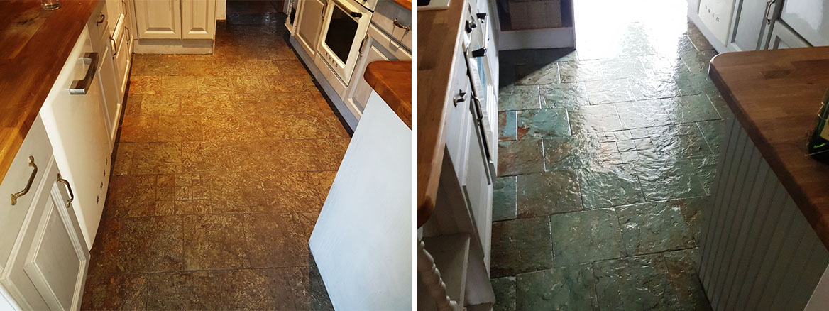 Slate Kitchen Floor Before and After Cleaning Sealing Gateside
