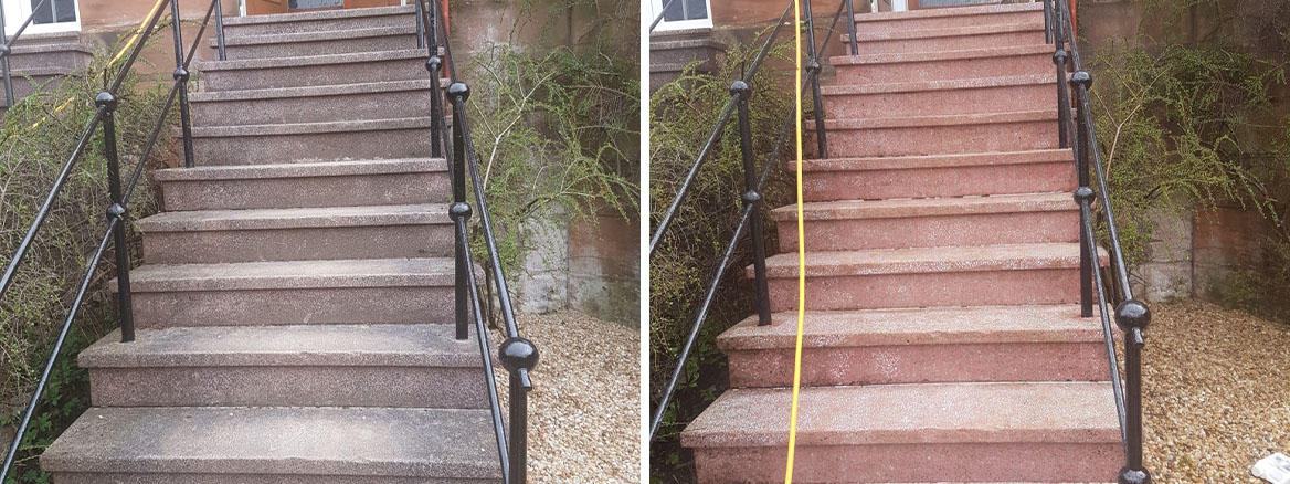 Terrazzo Steps Before and After Cleaning and Sealing in Glasgow