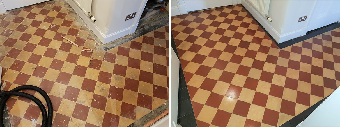 Victorian Hallway Floor Before and After Sealing Glasgow West End